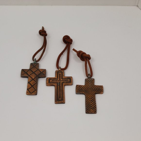 Copper Crosses (3) with Leather Ties
